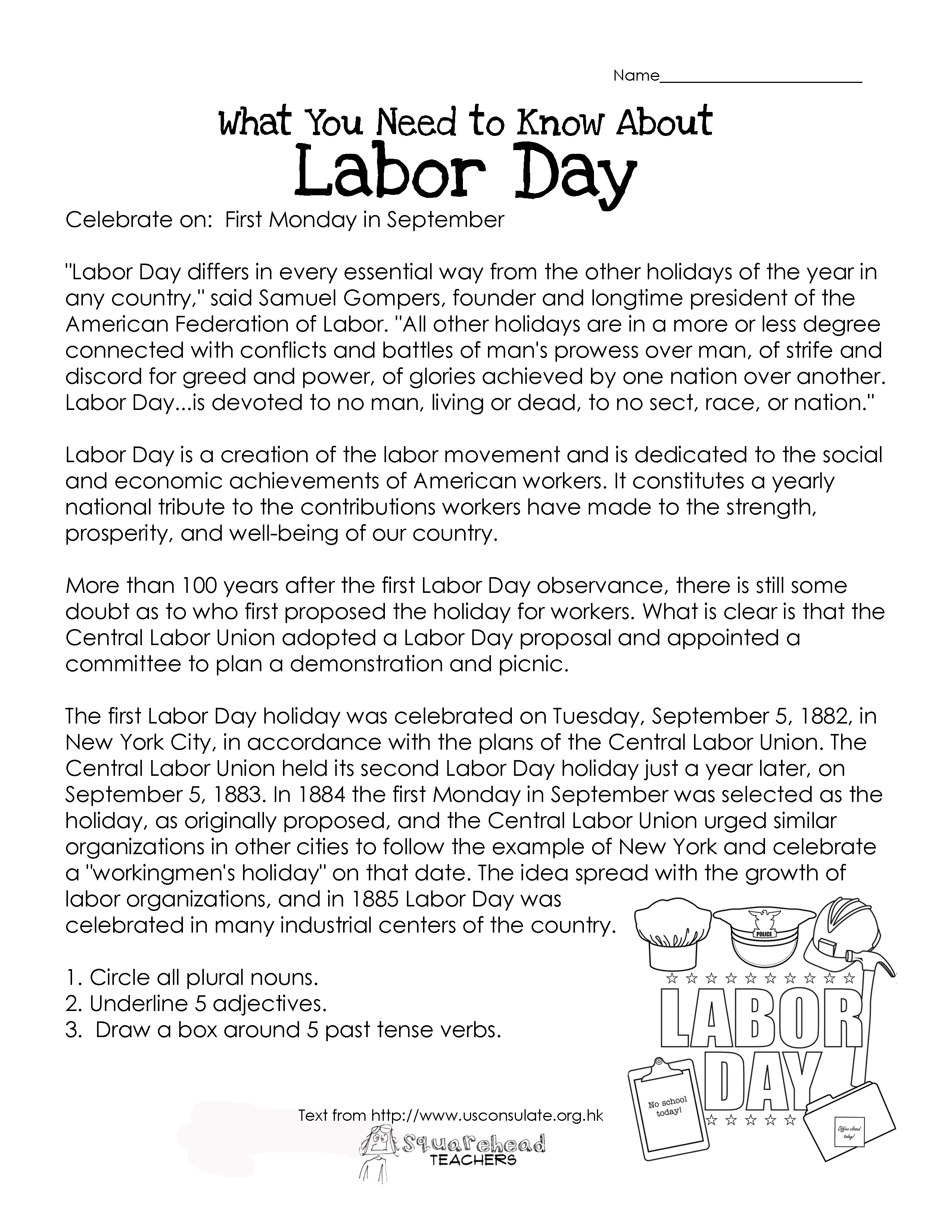 Labor Day- What You Need To Know (Free Worksheet!) | Squarehead Teachers | Free Printable Labor Day Worksheets