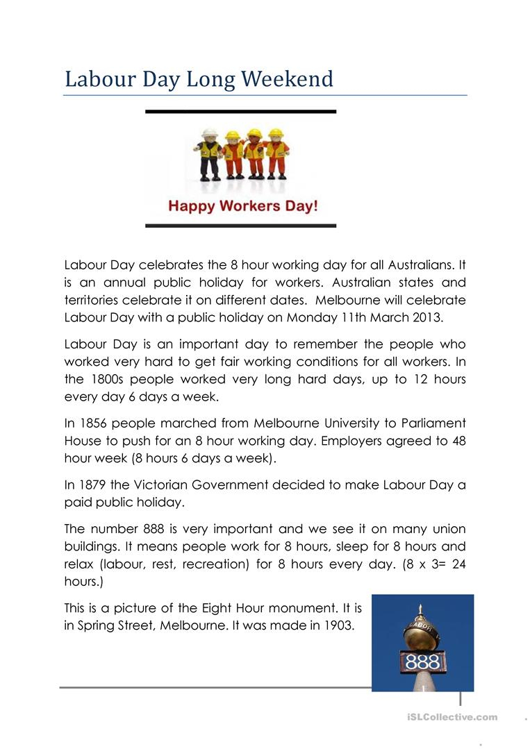 Labour Day In Australia Worksheet - Free Esl Printable Worksheets | Free Printable Labor Day Worksheets