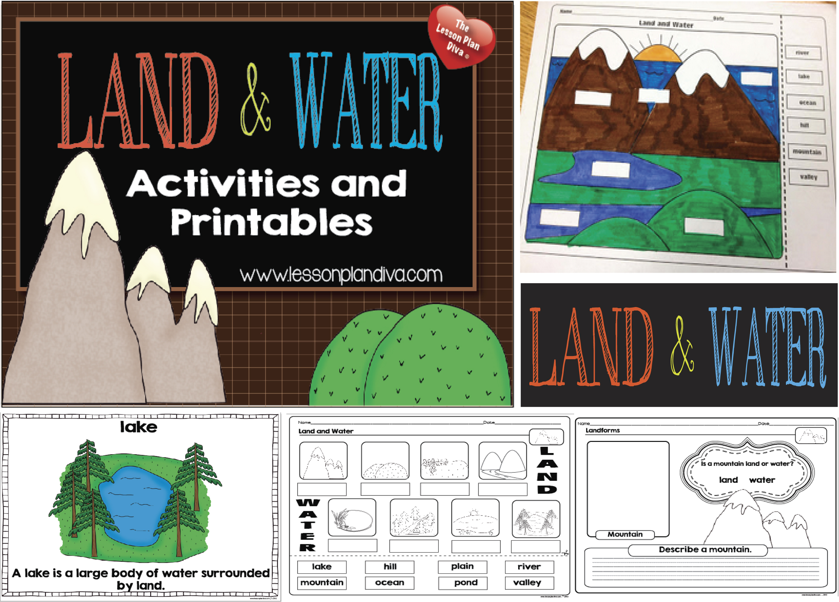 Landforms And Bodies Of Water Freebie! - The Lesson Plan Diva | Free Printable Landform Worksheets
