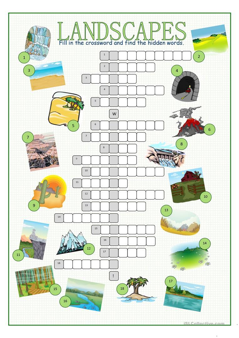 Landscapes Crossword Puzzle Worksheet - Free Esl Printable | Free Printable Landform Worksheets