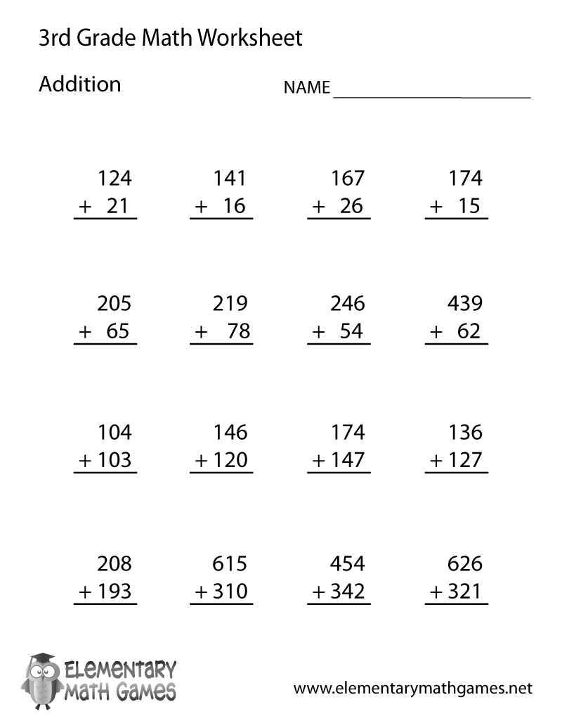Learn And Practice Addition With This Printable 3Rd Grade Elementary   Printable 3Rd Grade Math Worksheets