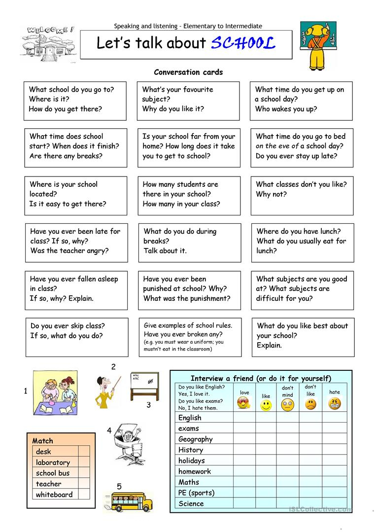 Let's Talk About School Worksheet - Free Esl Printable Worksheets | Free Printable Esl Worksheets For High School
