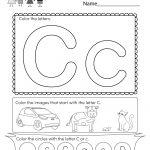 Letter C Coloring Worksheet   Free Kindergarten English Worksheet | Free Printable Letter C Worksheets