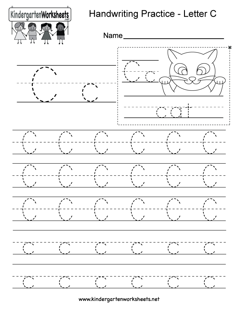 Letter C Writing Practice Worksheet - Free Kindergarten English | Free Printable Letter C Worksheets