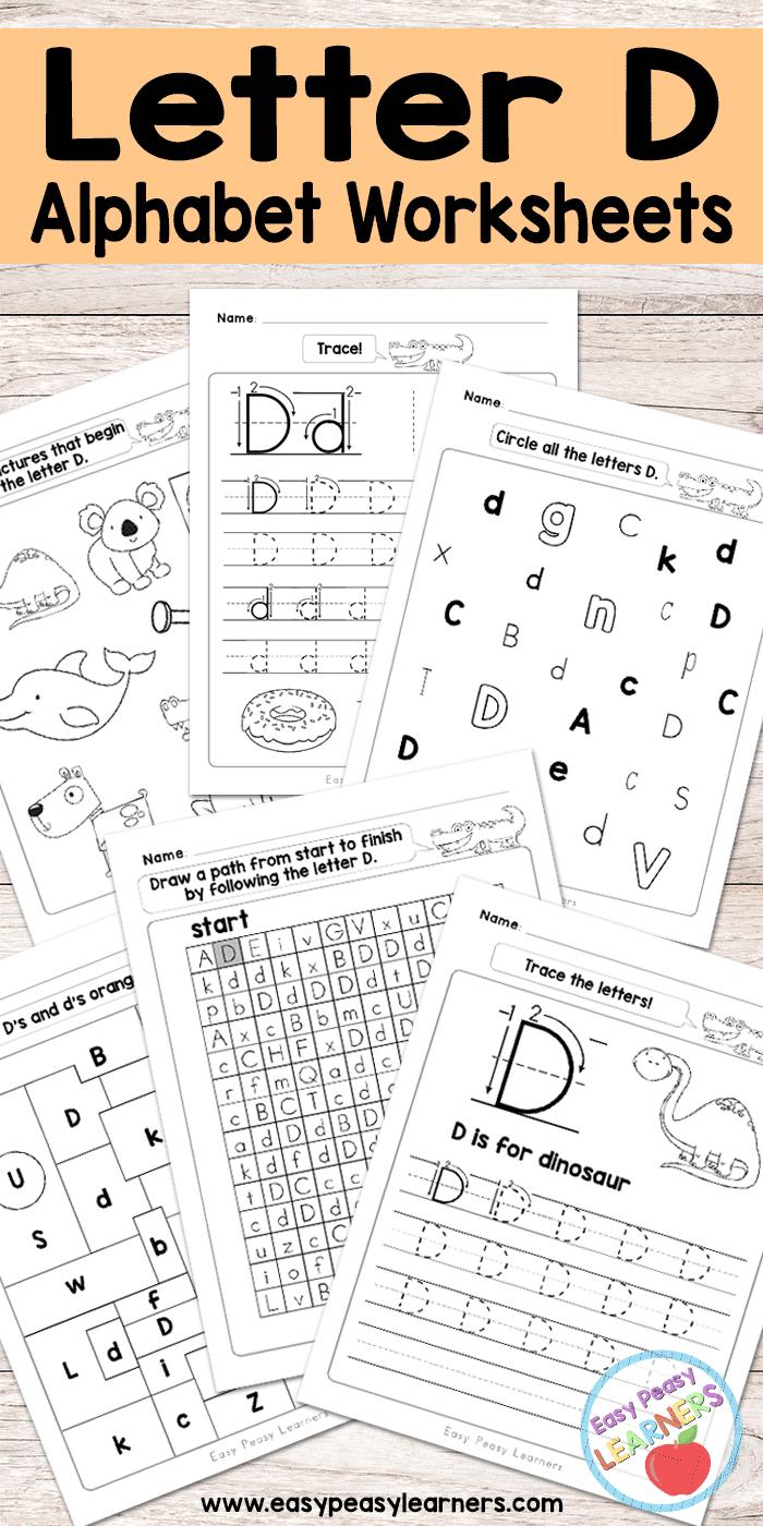 Letter D Worksheets - Alphabet Series - Easy Peasy Learners | Printable Letter Worksheets