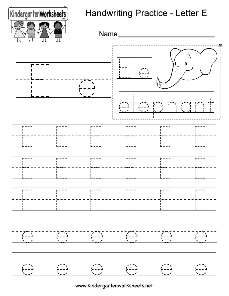 Letter E Writing Practice Worksheet - Free Kindergarten English | Letter E Free Printable Worksheets