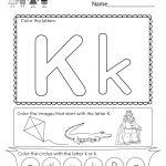 Letter K Coloring Worksheet   Free Kindergarten English Worksheet | Free Printable Letter K Worksheets