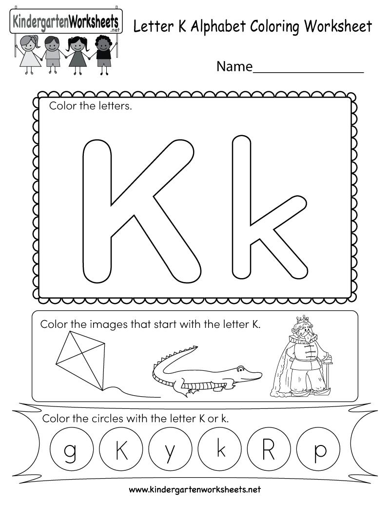 Letter K Coloring Worksheet - Free Kindergarten English Worksheet | Free Printable Letter K Worksheets