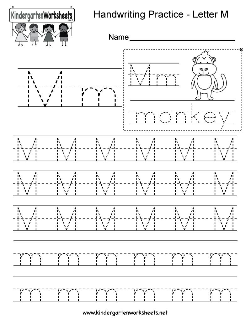 Letter M Writing Practice Worksheet - Free Kindergarten English | Kindergarten Worksheets Printable Writing