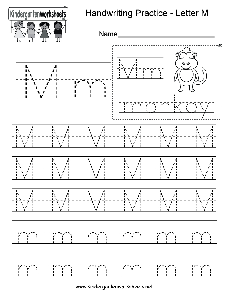 Letter M Writing Practice Worksheet - Free Kindergarten English | Letter M Printable Worksheets