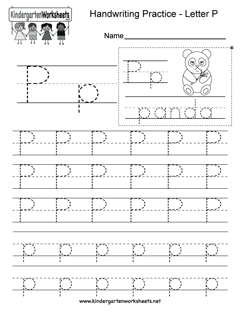 Letter P Writing Practice Worksheet - Free Kindergarten English | Free Printable Letter P Worksheets