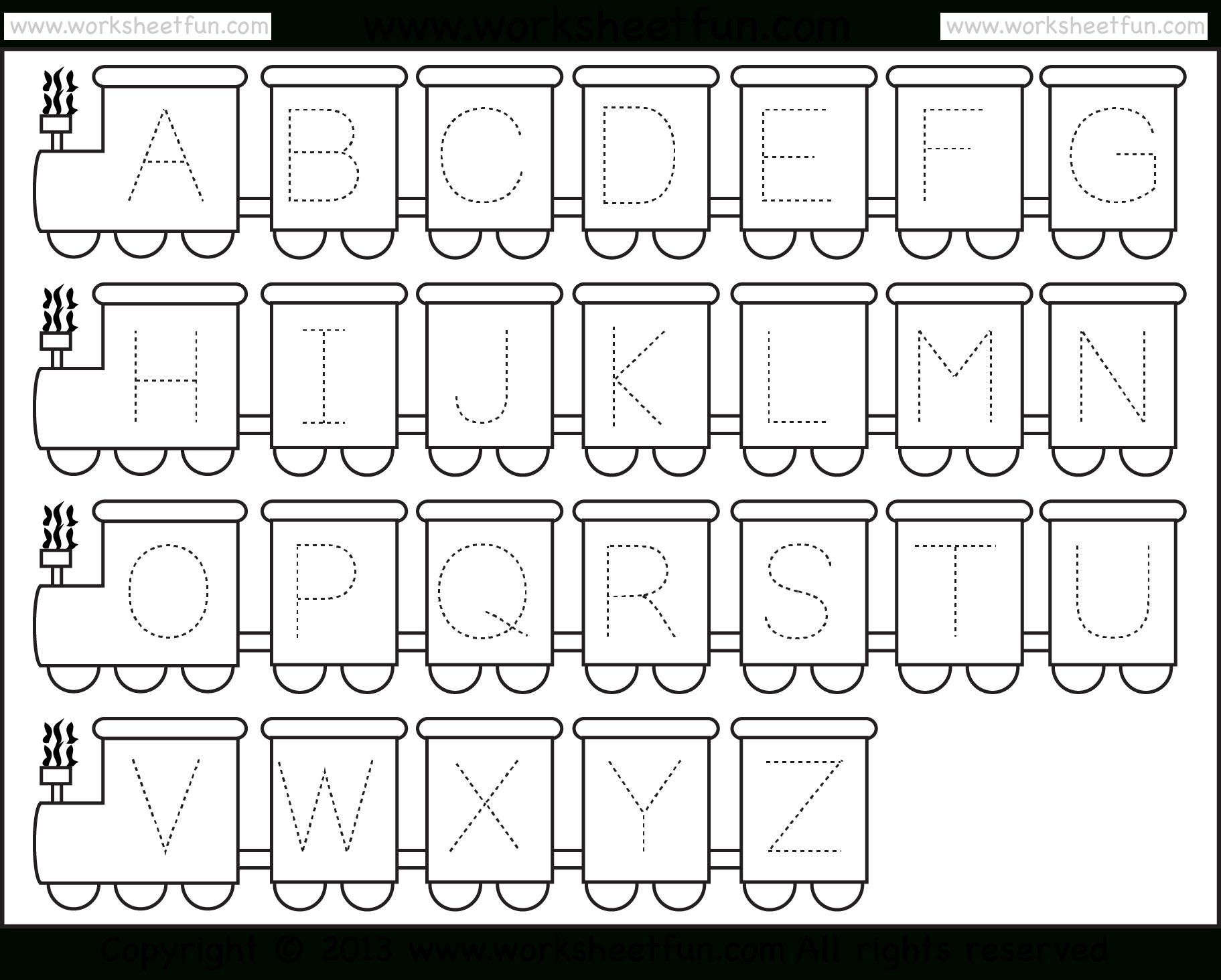 Letter Tracing Worksheet – Train Theme / Free Printable Worksheets | Alphabet Worksheets For Preschoolers Printable