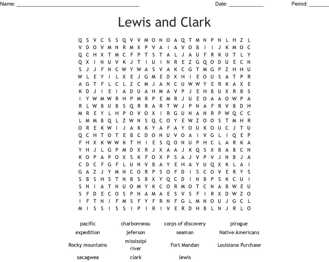 Lewis And Clark Word Search - Wordmint | Lewis And Clark Printable Worksheets