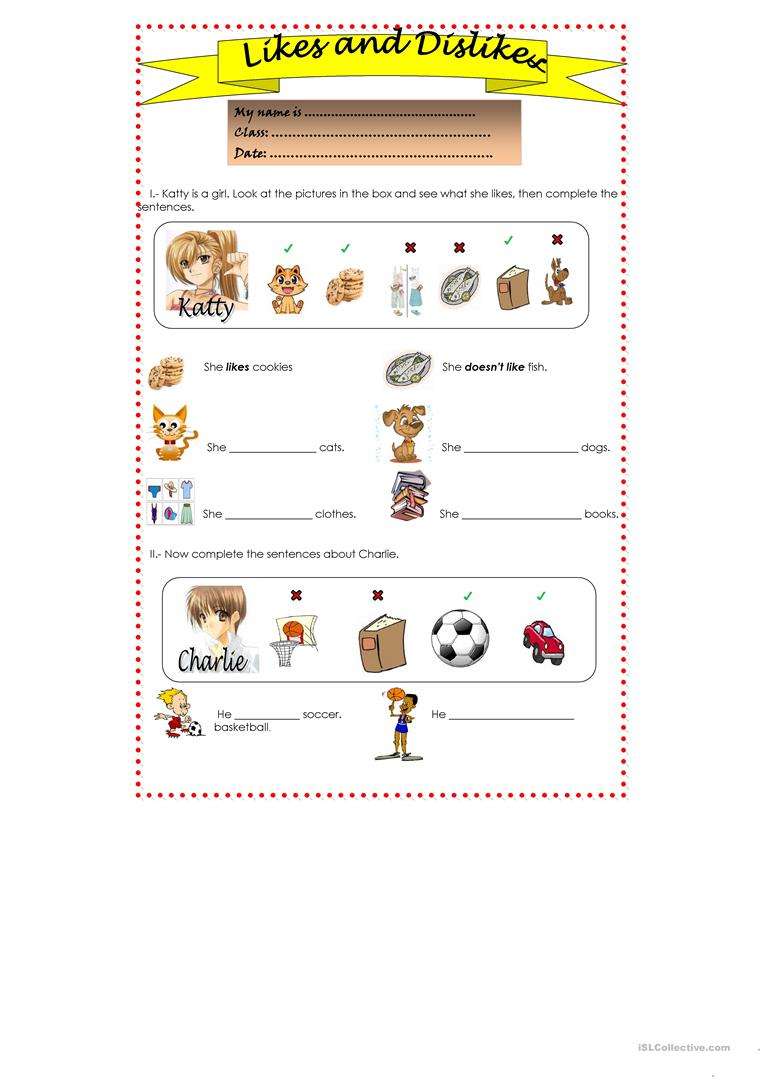 Likes And Dislikes Worksheet - Free Esl Printable Worksheets Made | Likes And Dislikes Worksheets Printable