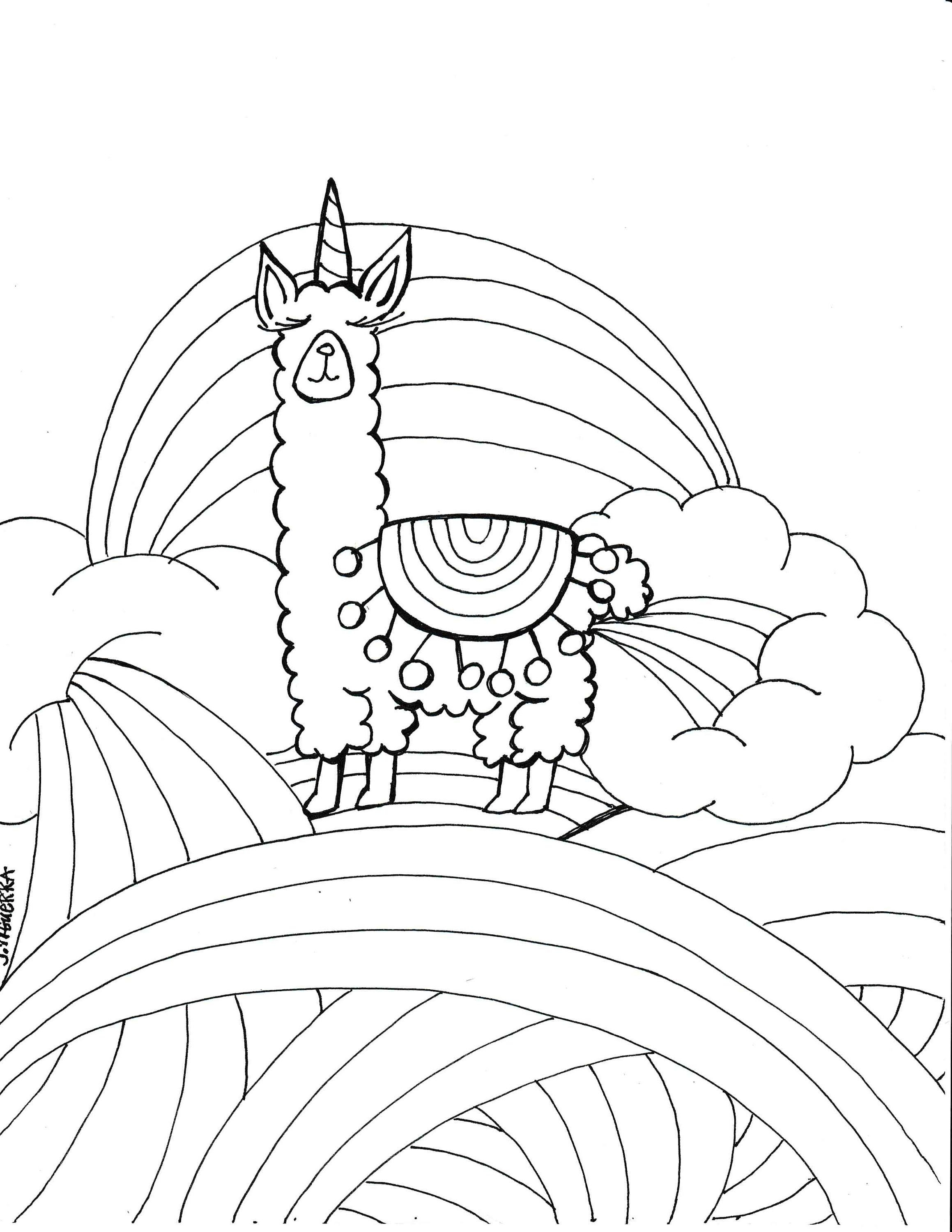 Llamacorn Coloring Page Pdf Printable Artjournalingart On Etsy | Colouring Worksheets Printable Pdf