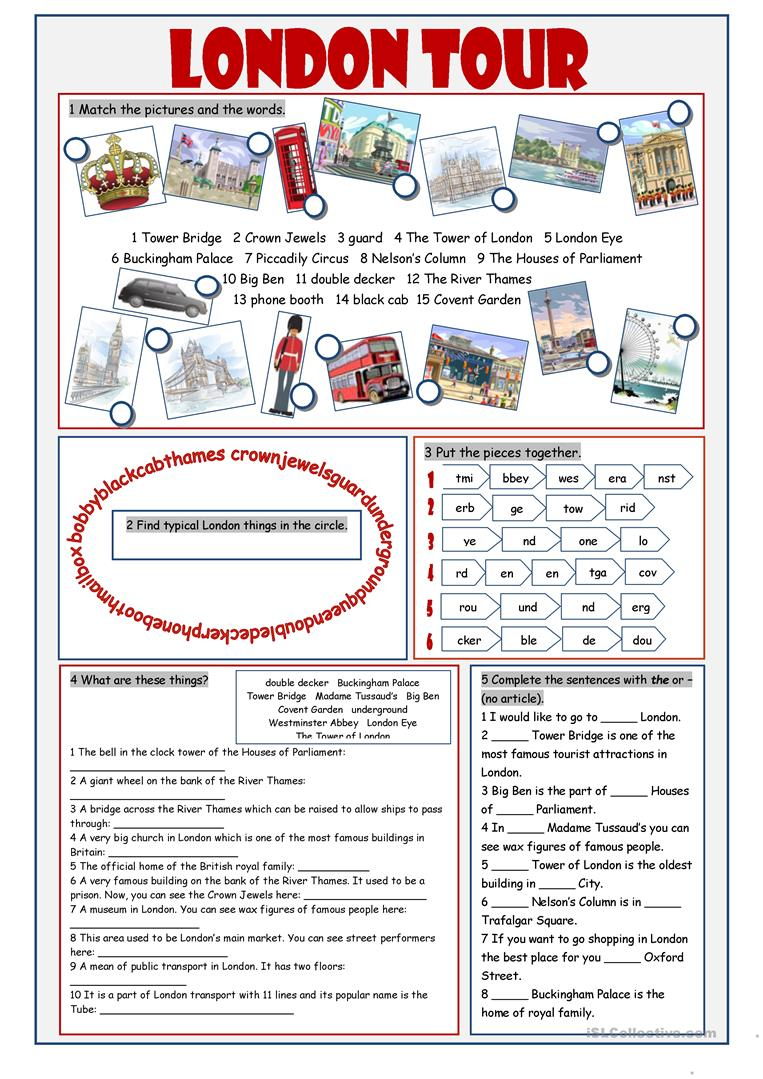 London Tour Vocabulary Exercises Worksheet - Free Esl Printable | London Worksheets Printable