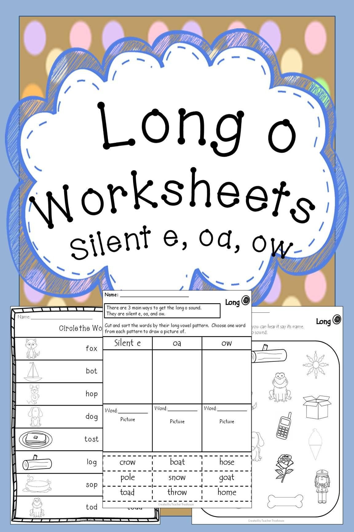 Long O Worksheets | Creative Teaching! | First Grade Worksheets | Short O Worksheets Printable