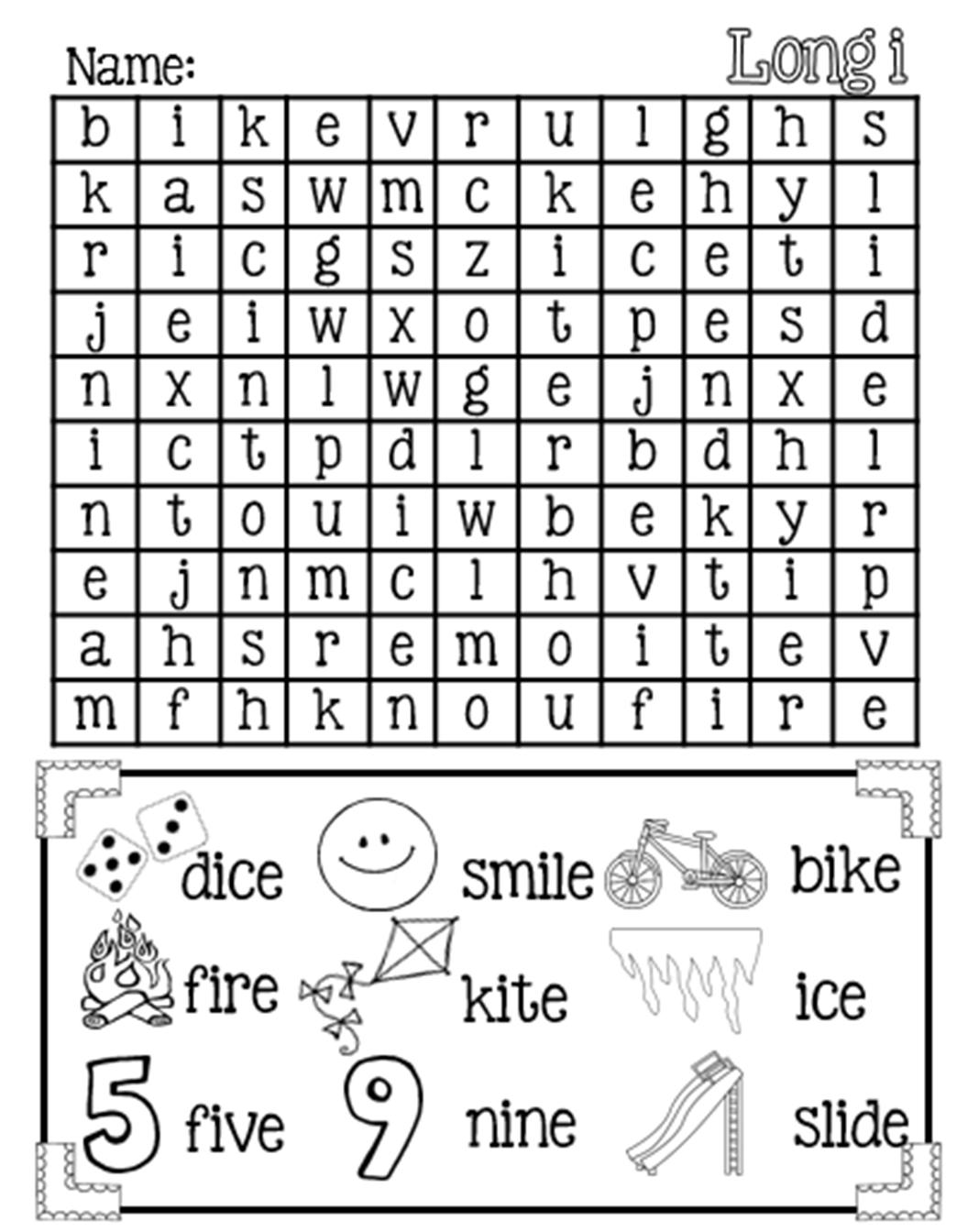 Magic E Long I Word Search {Free} | Elementary Classroom | Long I | Silent E Printable Worksheets