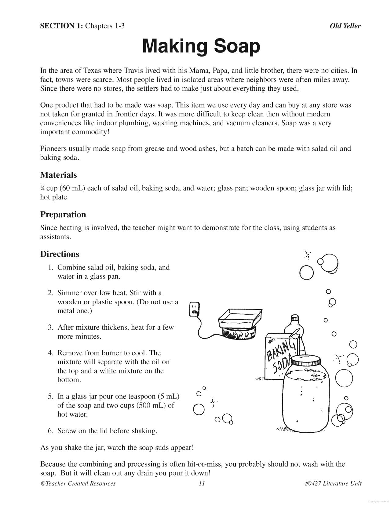 Making Soap - Old Yeller | School | Old Yeller, Classroom, 6Th Grade | Old Yeller Printable Worksheets
