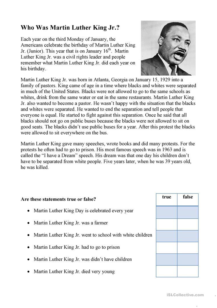 Martin Luther King Worksheet - Free Esl Printable Worksheets Made | Martin Luther King Free Printables Worksheets