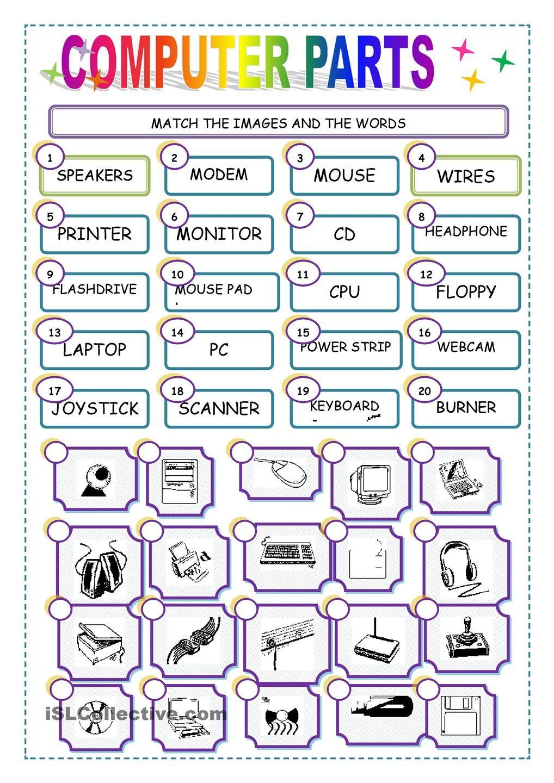 Match The Computer Parts Worksheet - Free Esl Printable Worksheets | Computer Worksheets Printables