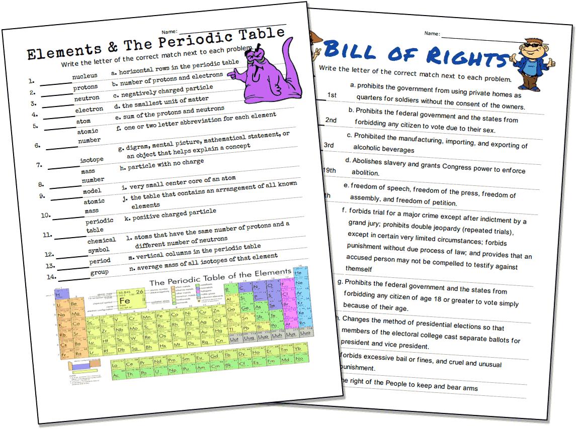 Match-Up Worksheet Maker | Printable Worksheet Maker