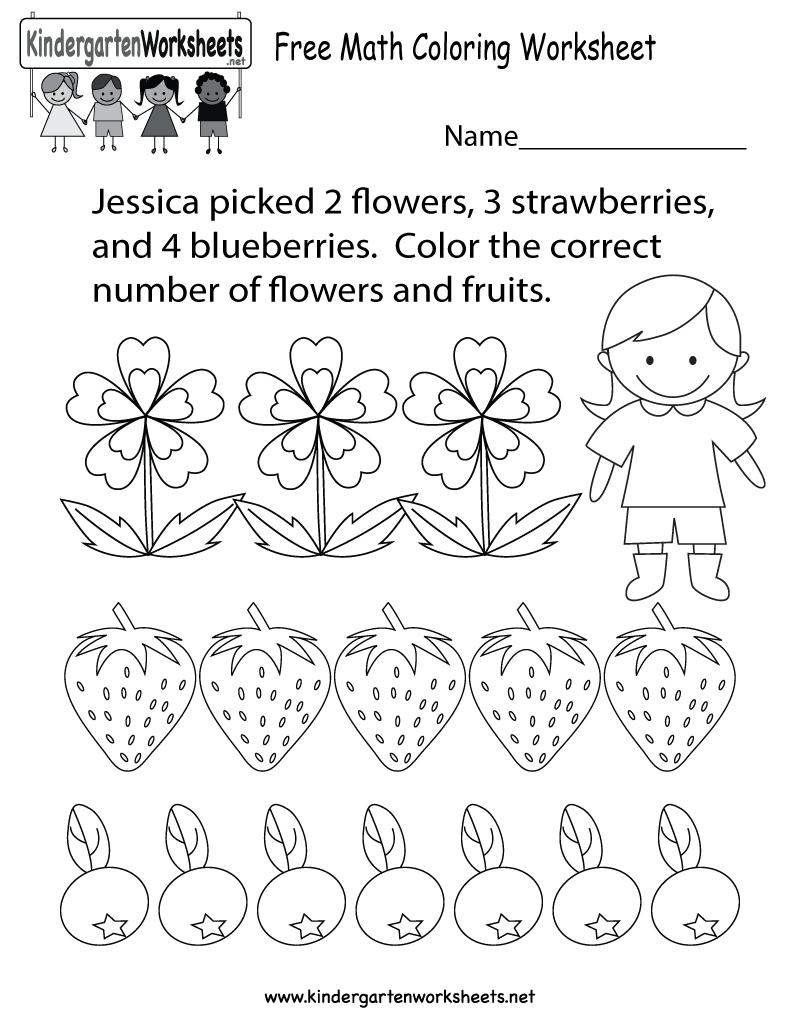 Math Coloring Worksheet - Free Kindergarten Learning Worksheet For | Printable Math Coloring Worksheets