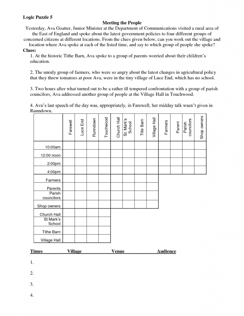 Math Logic Puzzles Worksheets Pdf | Download Them And Try To Solve | Logic Puzzles Printable Worksheets