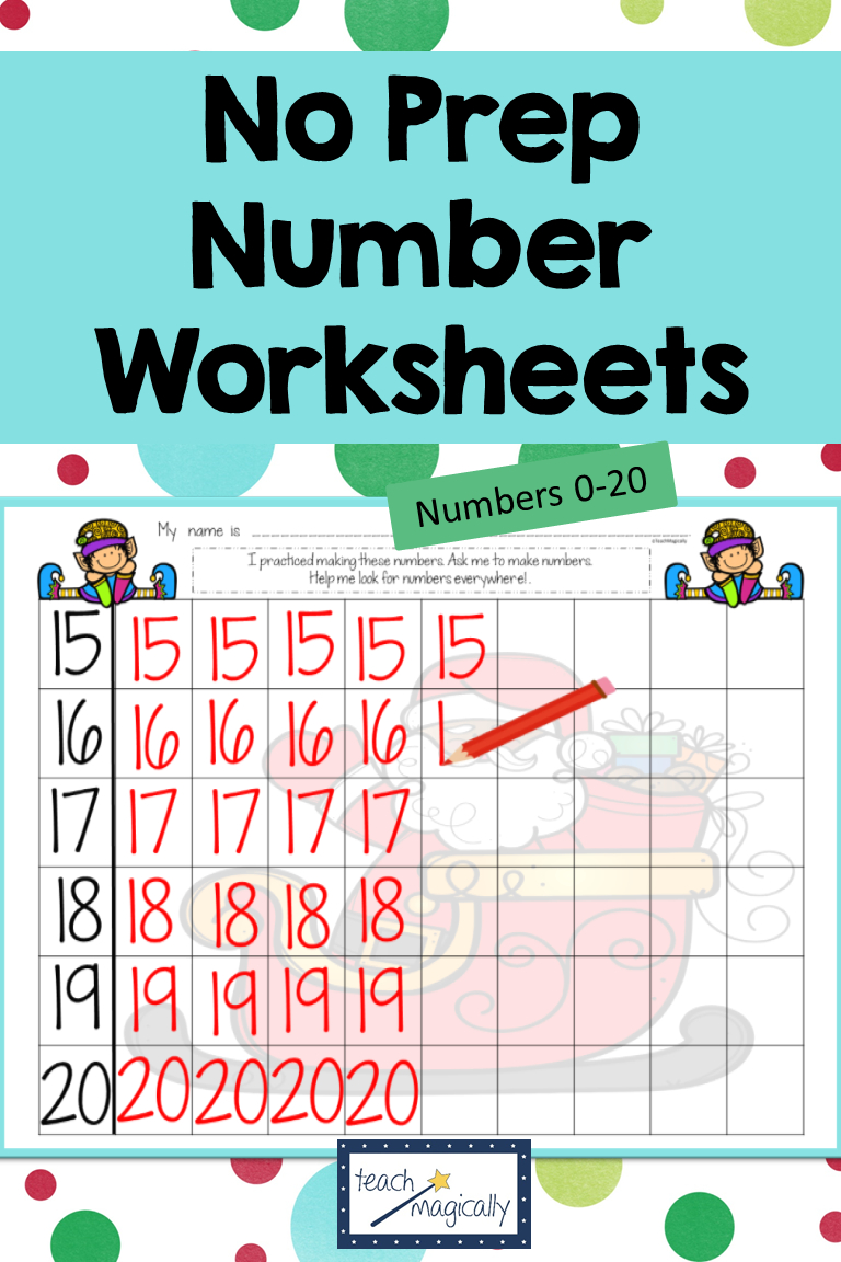 Math Number Writing Practice 1-20 Worksheets Christmas No-Prep | Printable Check Writing Worksheets