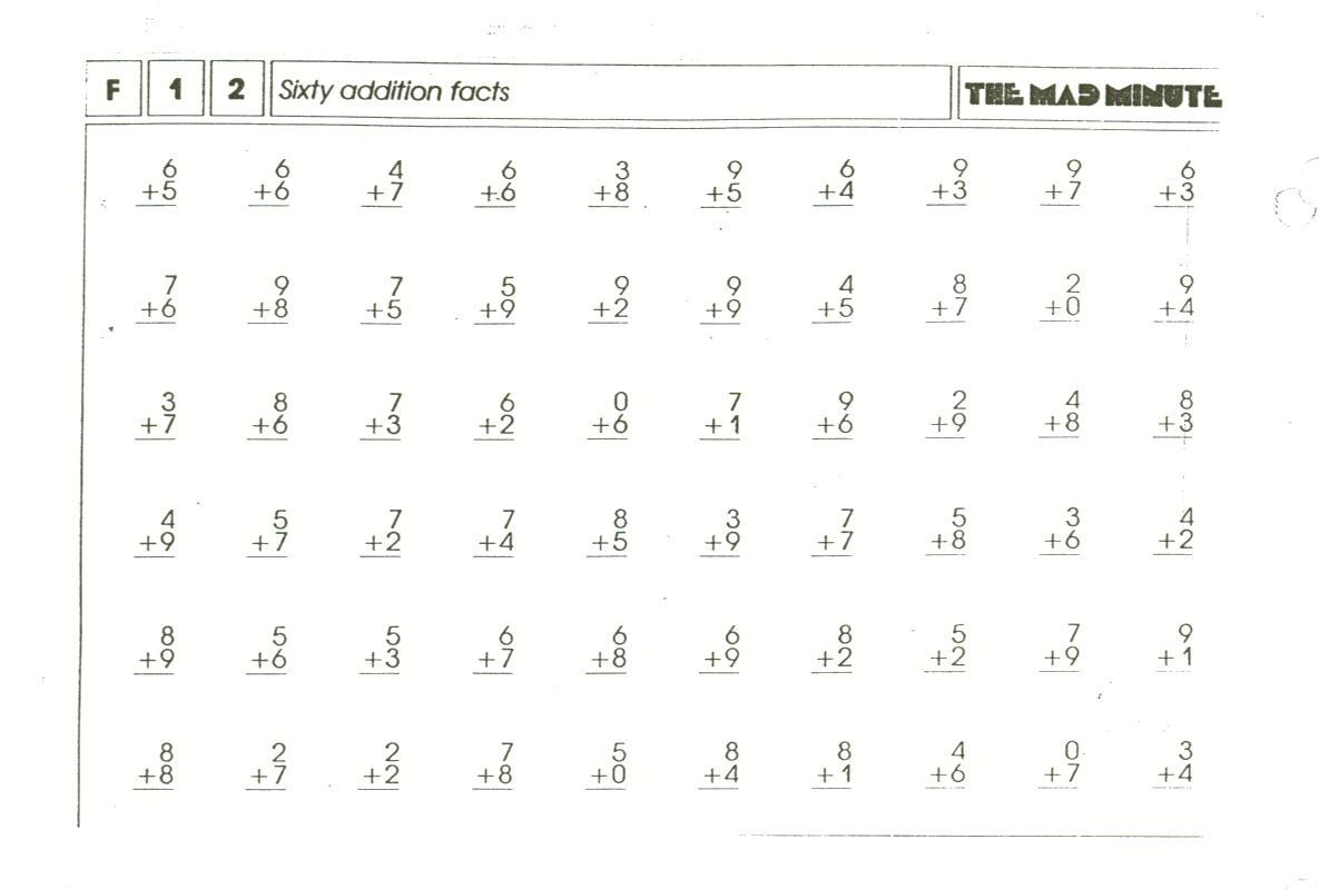 Math Worksheet: Minute Math Drills Colornumber 5Th Grade | Printable Timed Math Worksheets