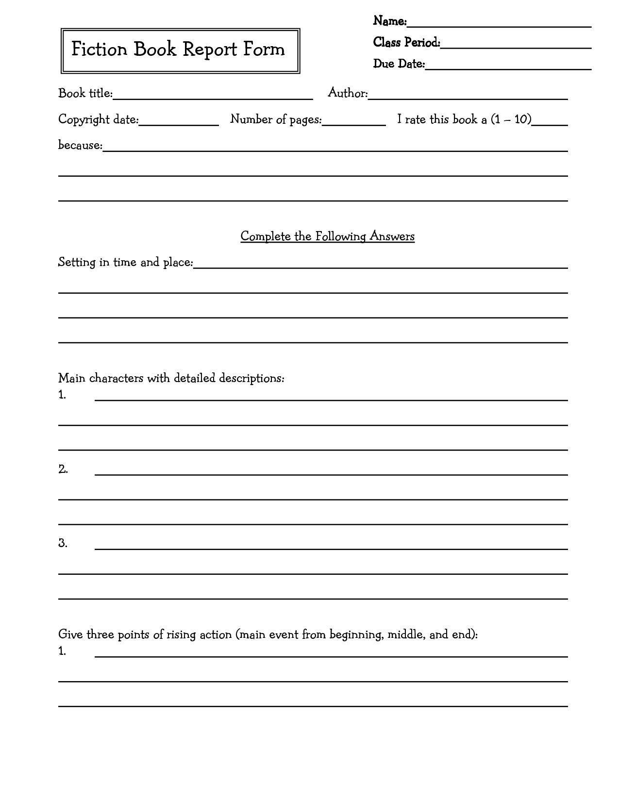Middle School Book Report Brochure. 6Th Grade | 7Th Grade | 8Th | Book Report Printable Worksheets