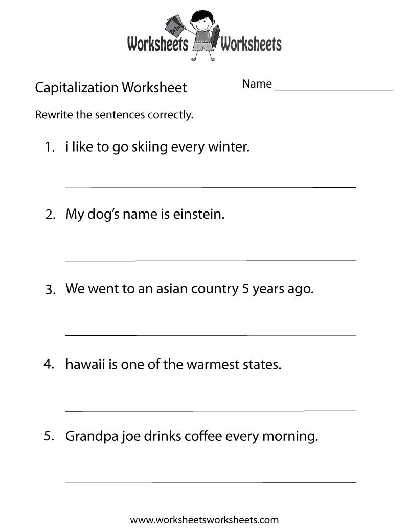 Middle School Capitalization Worksheet - Free Printable Educational | Free Printable High School Worksheets