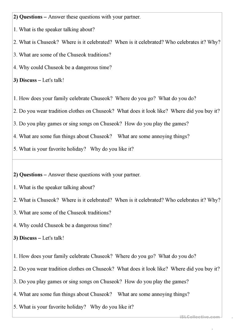 Mini Conversation Lesson On Korean Chuseok Worksheet - Free Esl | Printable Korean Language Worksheets