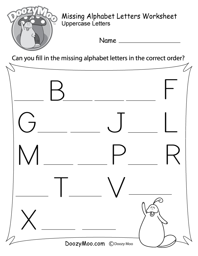 Missing Alphabet Letters Worksheet (Free Printable) - Doozy Moo | Printable Alphabet Worksheets