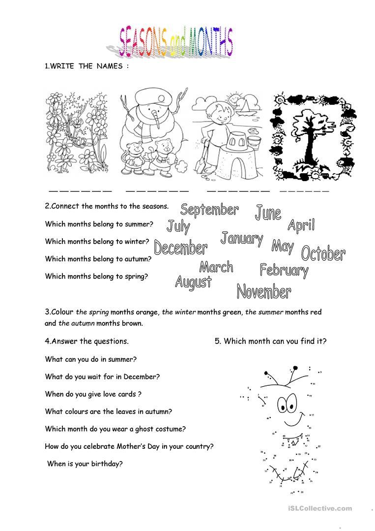 Months And Seasons Worksheet - Free Esl Printable Worksheets Made   Free Printable Seasons Worksheets