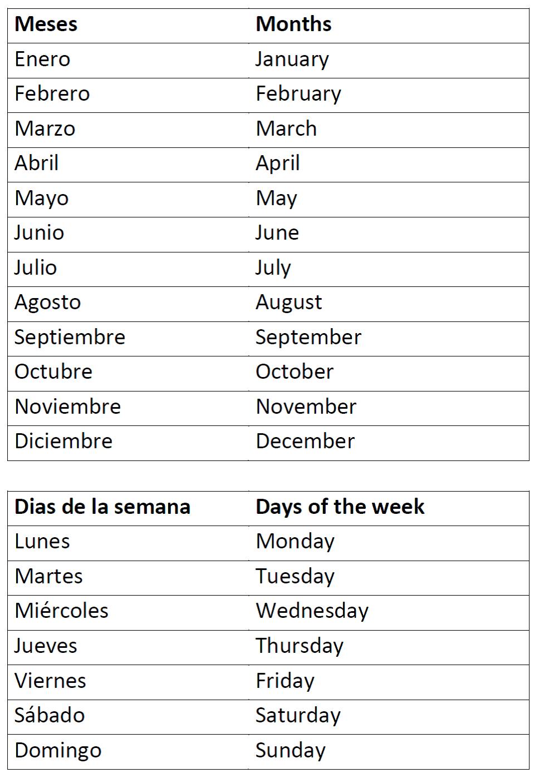 Free Printable Spanish Worksheets Days Of The Week ...