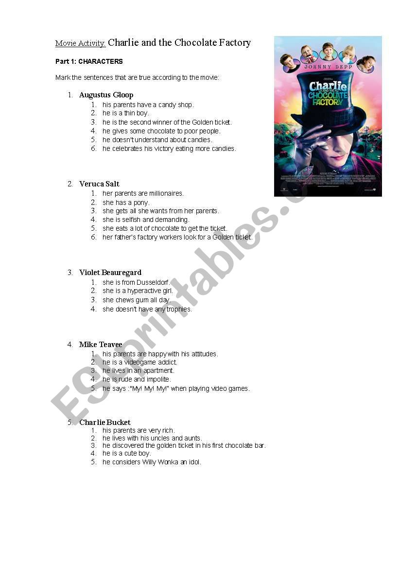 Movie Activity: Charlie And The Chocolate Factory - Esl Worksheet   Charlie And The Chocolate Factory Worksheets Printable