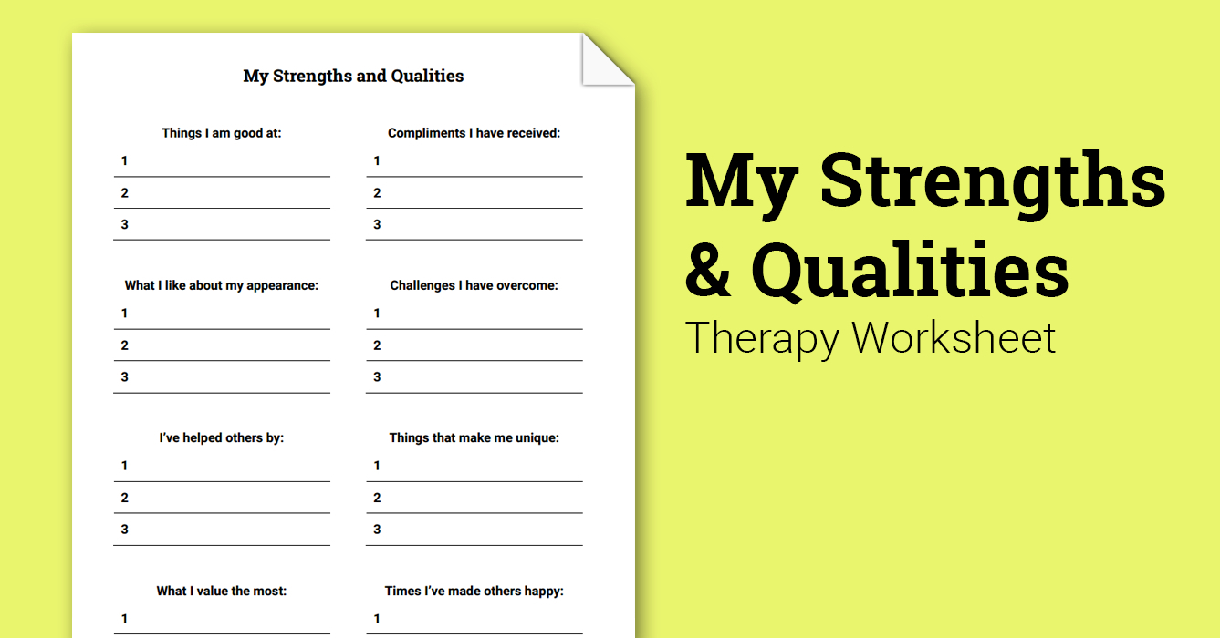 My Strengths And Qualities (Worksheet) | Therapist Aid - Free | Free Printable Therapy Worksheets
