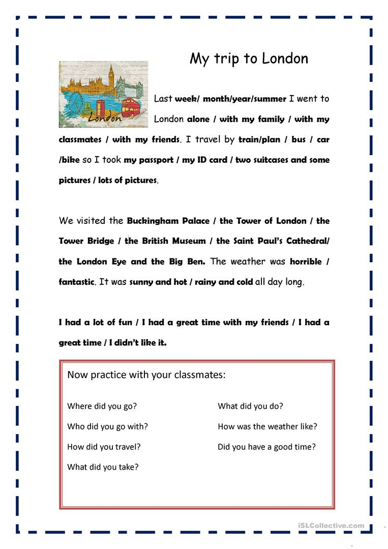 My Trip To London Worksheet - Free Esl Printable Worksheets Made | London Worksheets Printable