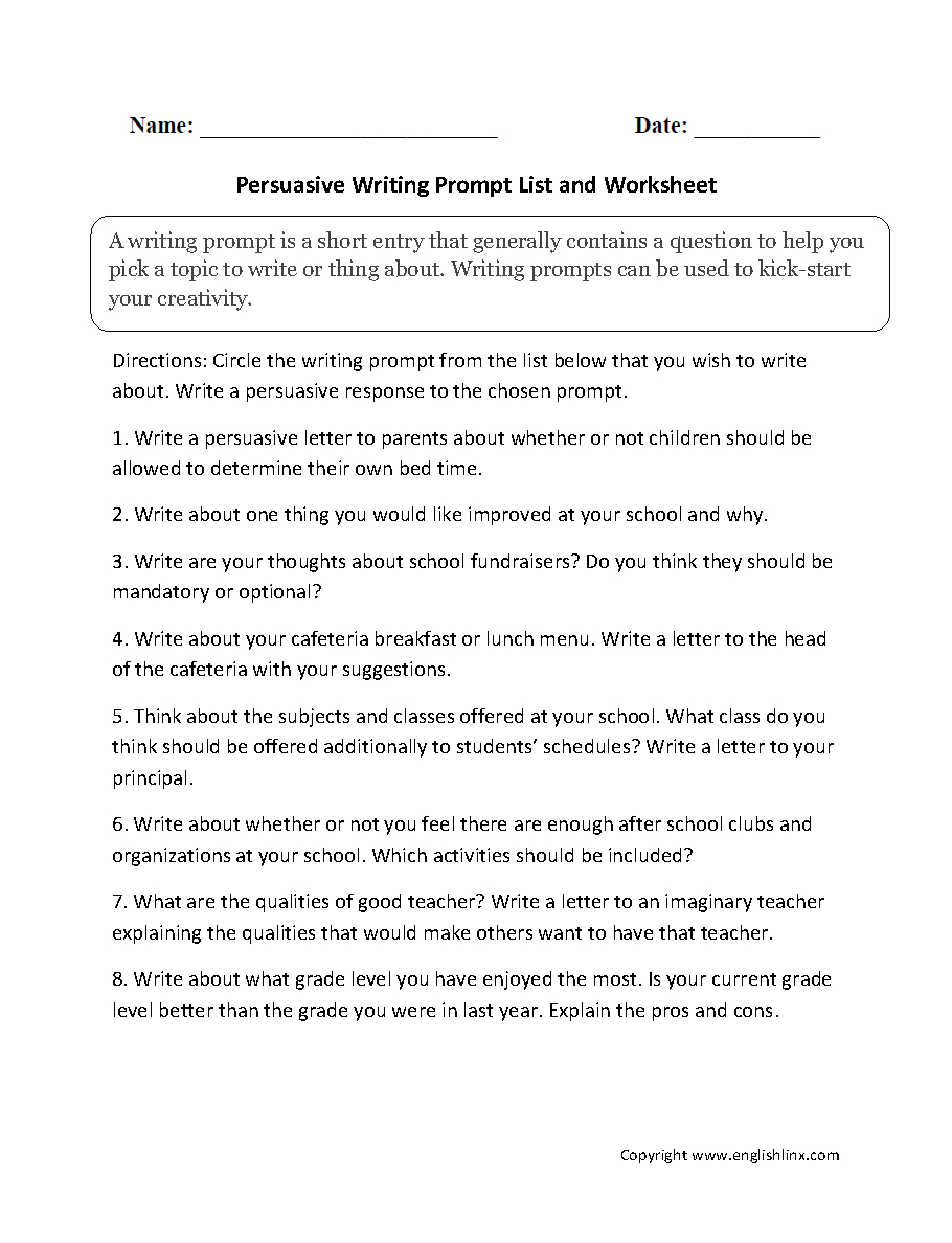Narrative, Persuasive, Expository/informative, And Warm Up Writing   7Th Grade Writing Worksheets Printable