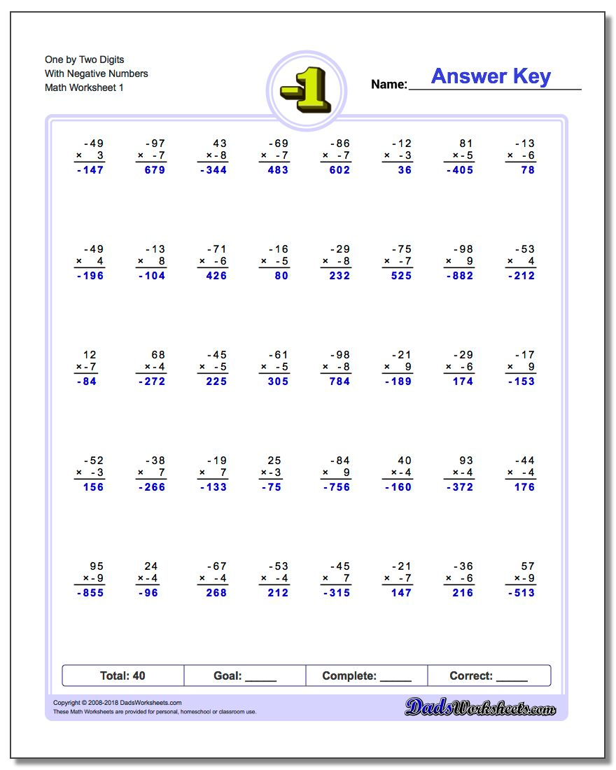 Negative Numbers | Positive And Negative Numbers Worksheets Printable