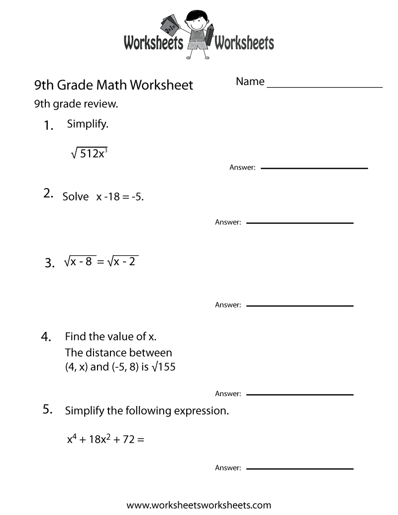 Ninth Grade Math Practice Worksheet Printable | Teaching | Math | Math Worksheets For Teachers Printable