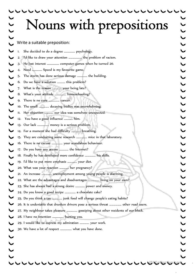 Nouns With Prepositions Worksheet - Free Esl Printable Worksheets | Printable Preposition Worksheets