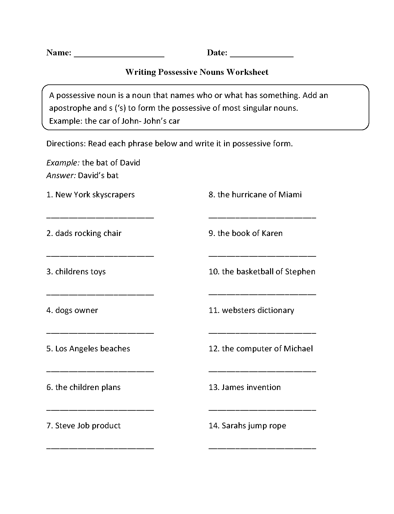 Nouns Worksheets | Possessive Nouns Worksheets | Possessive Nouns Printable Worksheets