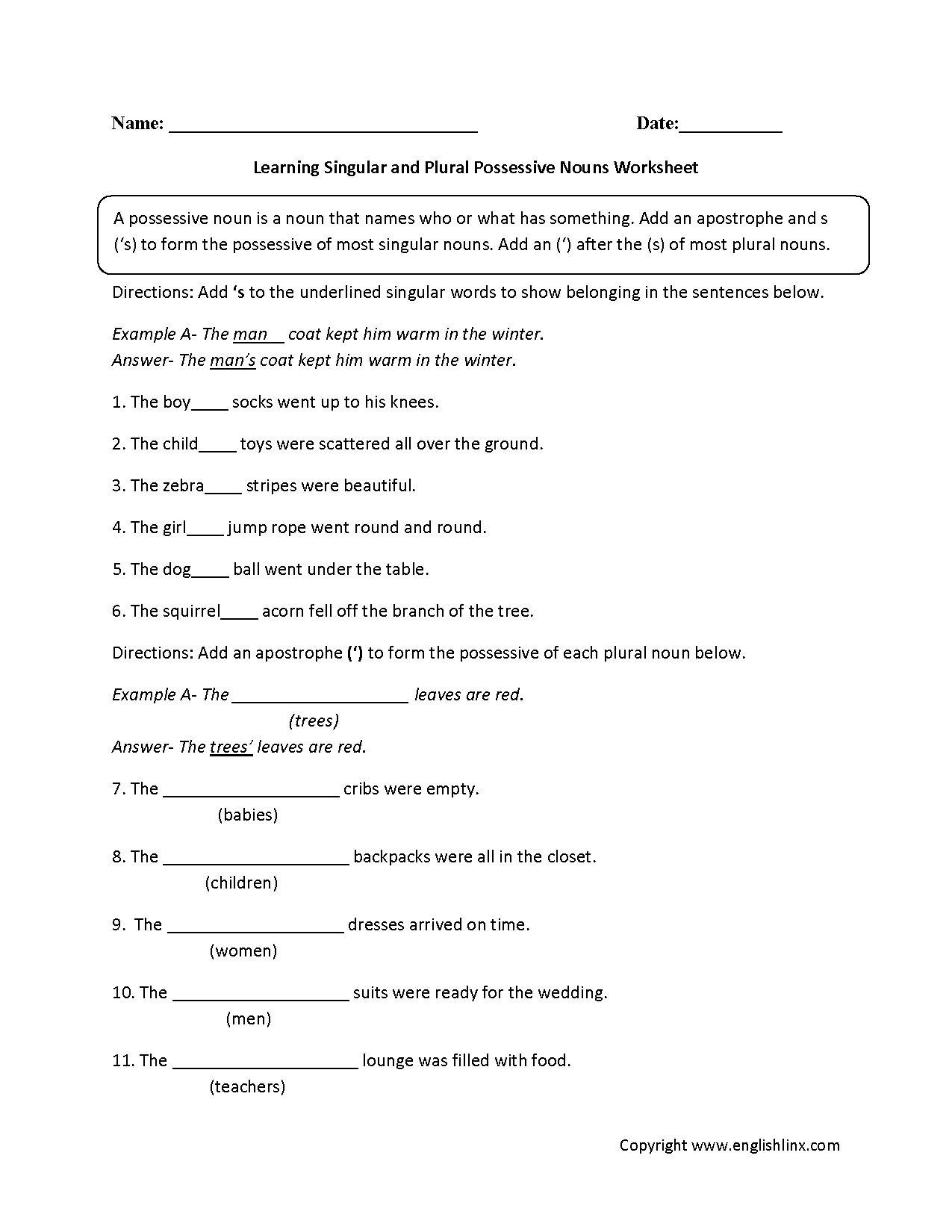 Nouns Worksheets | Possessive Nouns Worksheets | Possessive Nouns Printable Worksheets