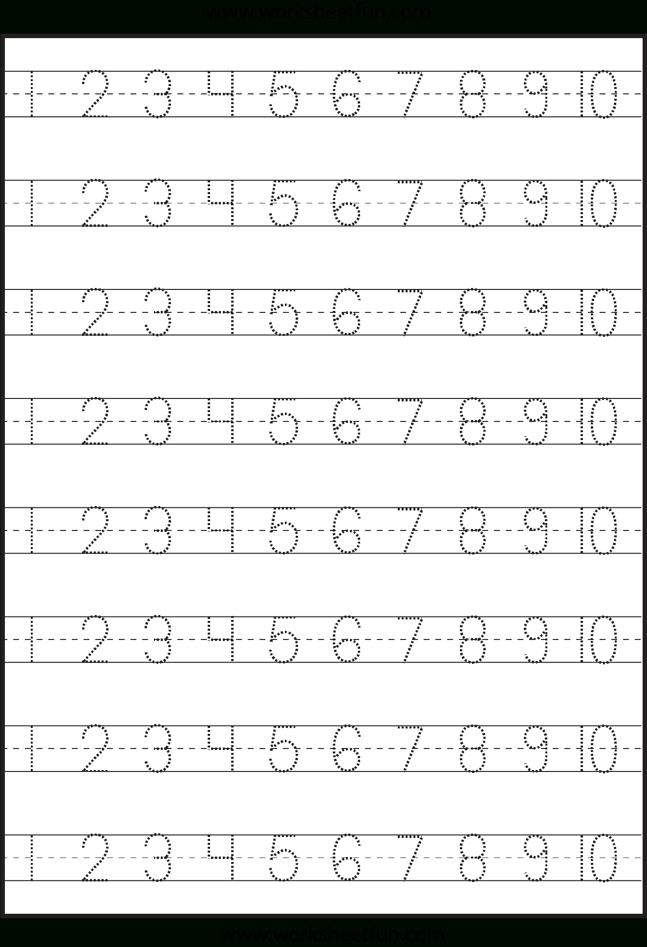 Number Tracing – 1-10 – Worksheet / Free Printable Worksheets | Free Printable Number Worksheets For Kindergarten