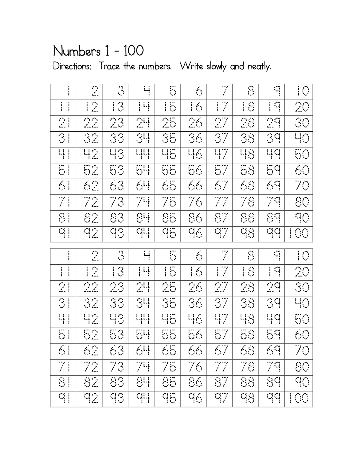 Number Worksheets 1-100 Printable | Activity Shelter | Numbers 1 100 Printable Worksheets