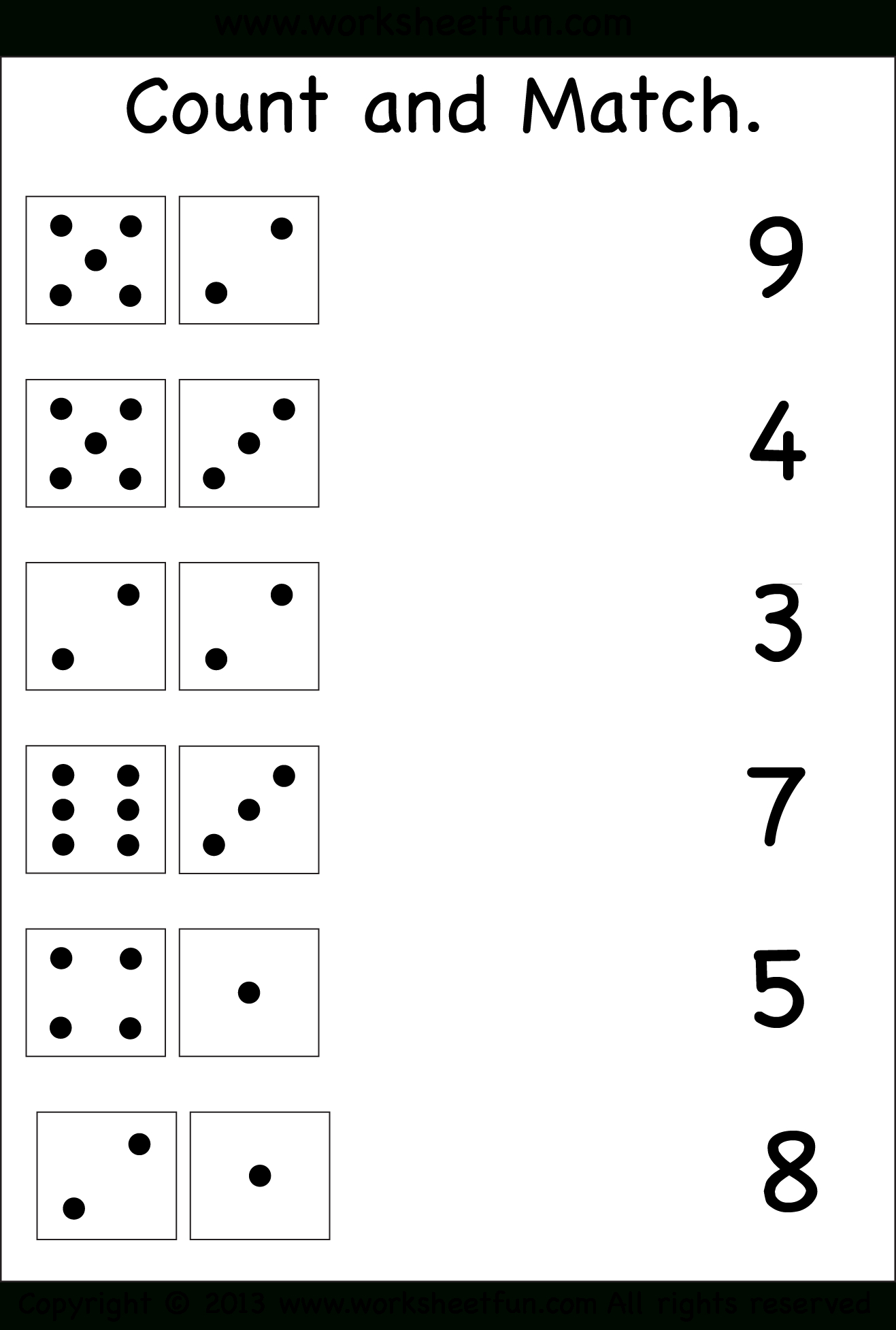 Numbers – Count And Match / Free Printable Worksheets – Worksheetfun   Free Printable Counting Worksheets 1 20