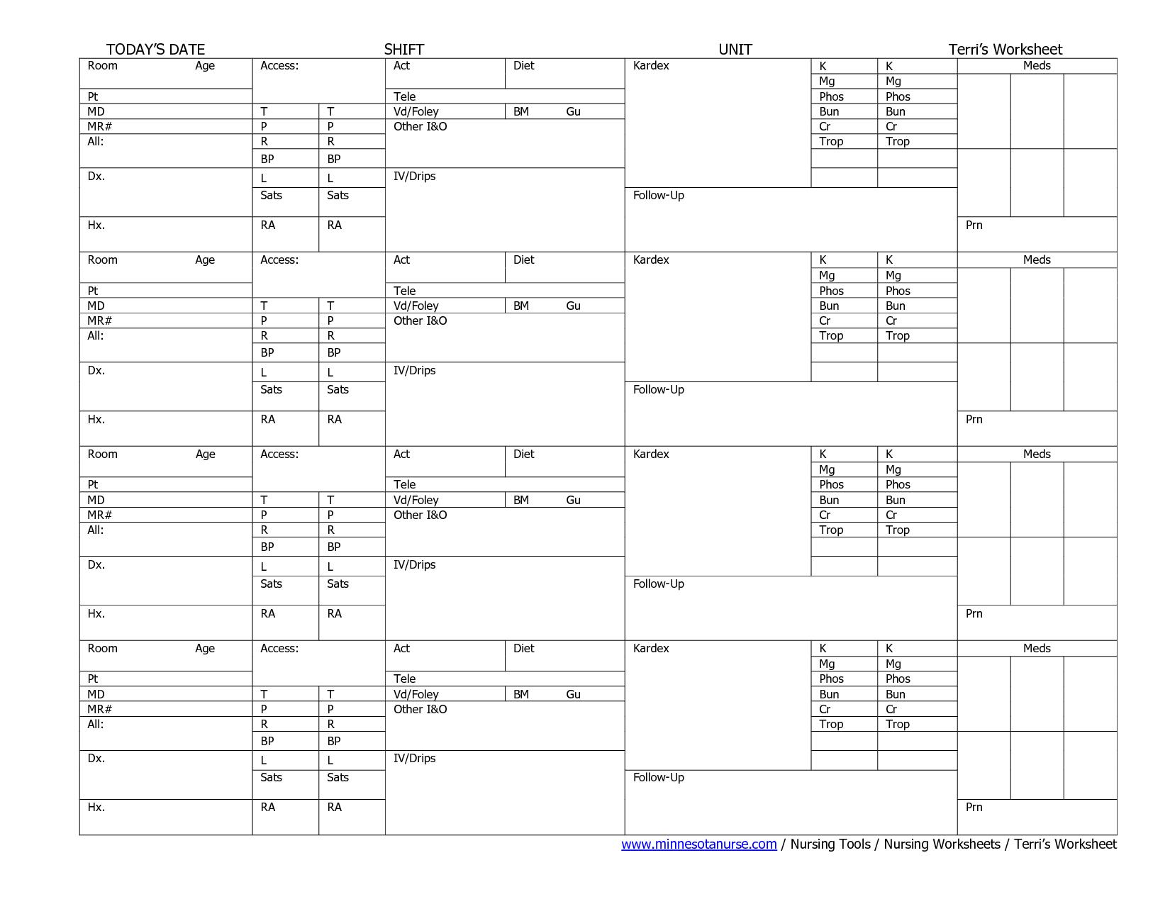 Nursing Worksheets Printable | Sample Nursing Worksheet, Free | Printable Nursing Worksheets