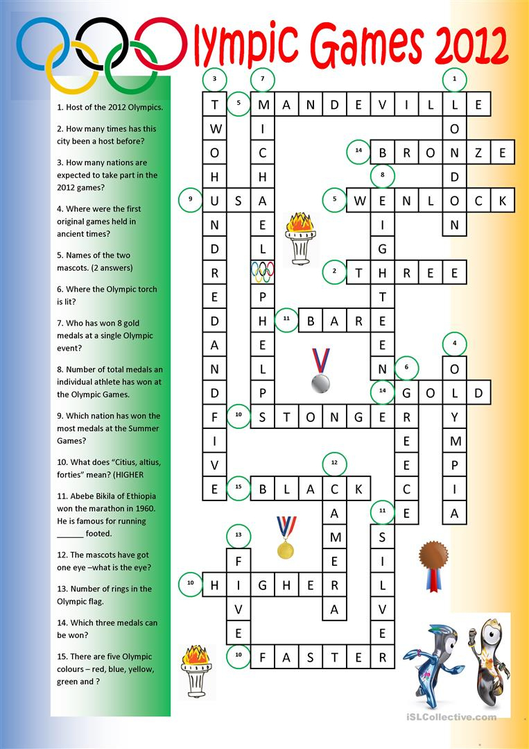 Olympic Games Crossword (Key) Worksheet - Free Esl Printable | Olympic Printable Worksheets